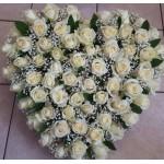 Echte witte rozen voor tafel (hartje model)